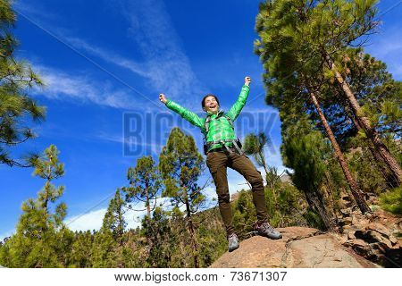 Hiking woman reaching summit top cheering celebrating on mountain top with arms up outstretched towards the sky. Happy female hiker.