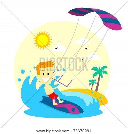 Man Enjoying Kitesurfing