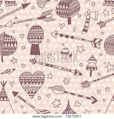 Indian seamless pattern made of wigwam, arrows, trees, hearts, stars in vintage style