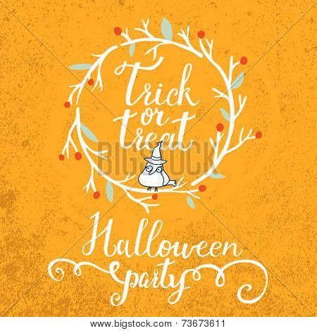 Trick or treat concept card. Bright holiday background in vector