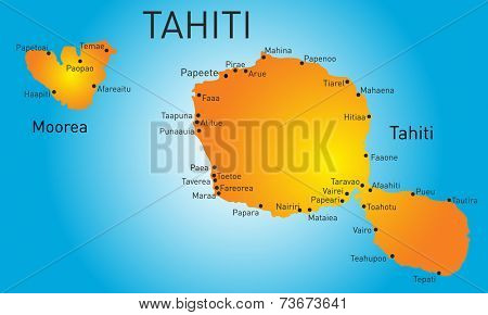 Vector color map of Tahiti