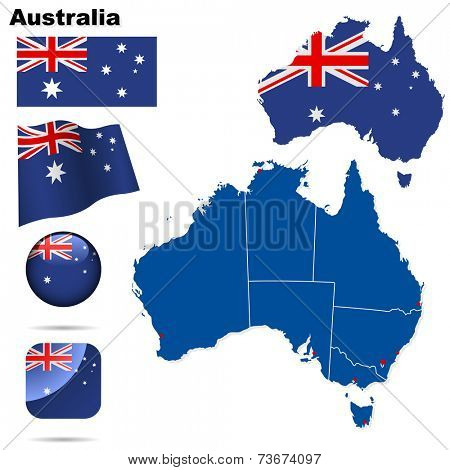Australia set. Detailed country shape with region borders, flags and icons isolated on white background.