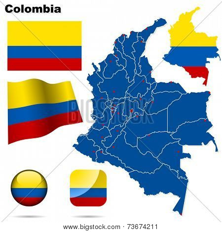 Colombia set. Detailed country shape with region borders, flags and icons isolated on white background.