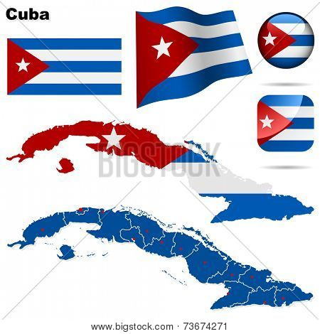 Cuba set. Detailed country shape with region borders, flags and icons isolated on white background.