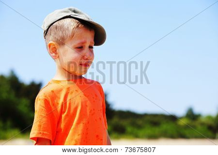 Little Boy Crying Outdoor