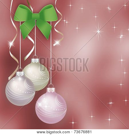 Pink Christmas Background With Christmas Balls