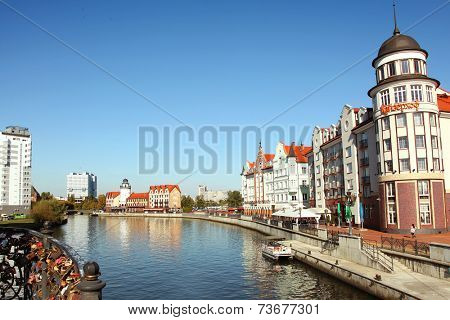 Kaliningrad, Russia- October 3, 2014: Ethnographic and trade center, embankment of the Fishing Village