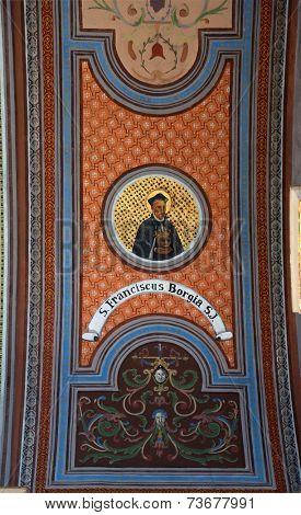 TRAVNIK, BOSNIA AND HERZEGOVINA - JUNE 11: Saint Francis Borgia, fresco on the ceiling of the church of St. Aloysius in Travnik, Bosnia and Herzegovina on June 11, 2014.
