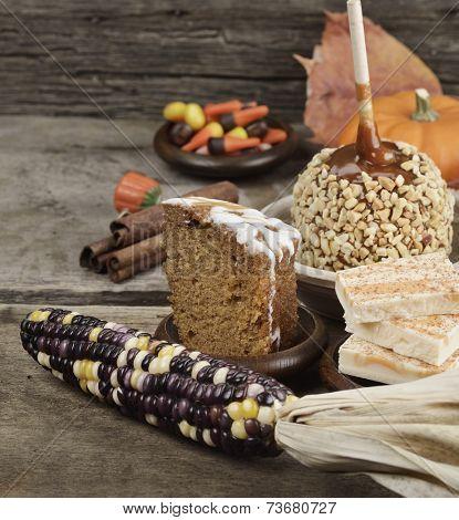 Halloween Treats - Caramel Apple ,Pumpkin,Cake And Candies