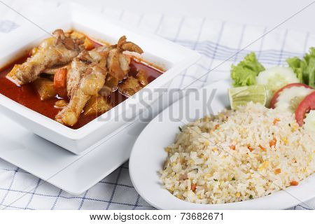 Fried Rice And Chicken Yellow Curry
