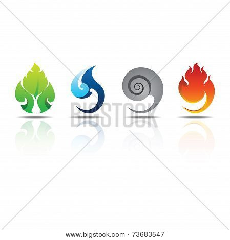 Earth Water Wind Fire Element Icon Set Design