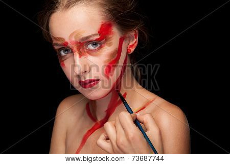 Girl Getting Her Stage Make Up Done