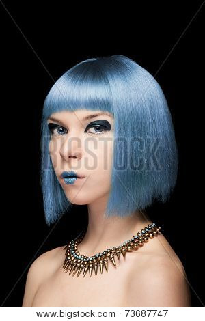 Anime Model Girl With Blue Hair