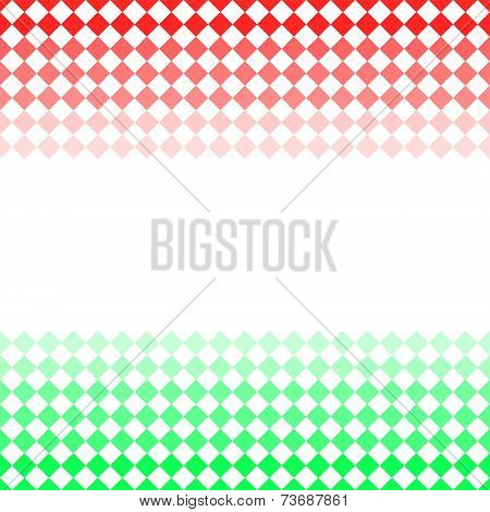 Red and green diamond shape mosaic striped geometric seamless frame banner, vector