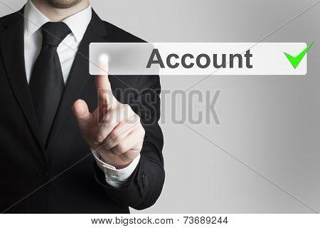Businessman Pushing Button Account