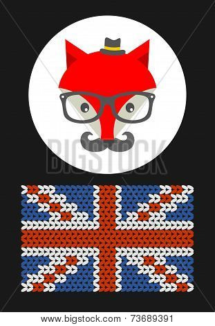 Hipster fox with the flag of Grait Britain.