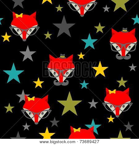 Seamless pattern with hipster foxes.