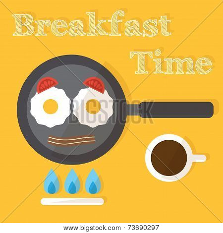 Breakfast time. Fried eggs making process, preparing food. Flat design vector.