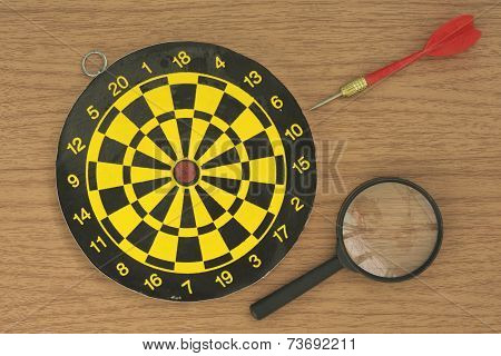 Dart target and Magnifier