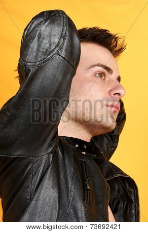 Young Man With Black Leather Jacket