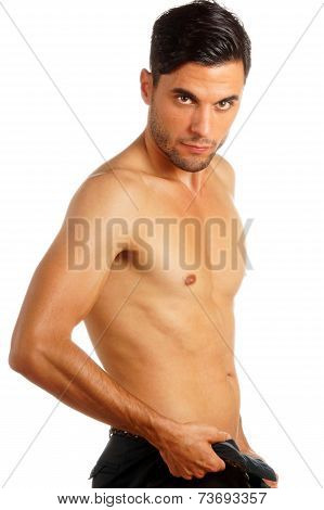 Man Undressing Over White