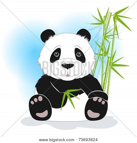 Sitting panda with green bamboo, vector illustration