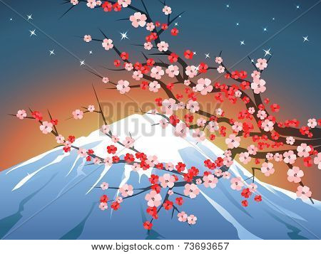 landscape with sakura and Fuji