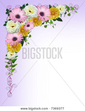 Spring flowers border template