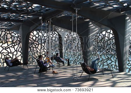 Marseille, France, October 2, 2014 : Visitors Rest Inside The Museum Of European And Mediterranean C