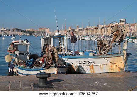 Marseille, France, October 2, 2014 : Fishemen Boats In The Harbor Of Marseille.