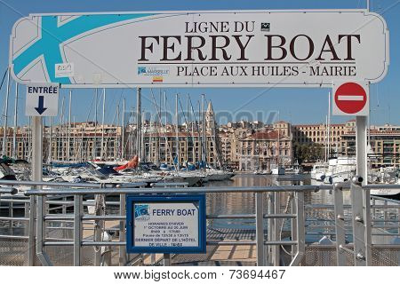 Marseille, France, October 2, 2014 : Ferry Boat Thru The Harbor Of Marseilles. Marseilles Is The 3Rd
