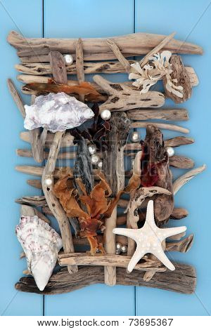 Shell and driftwood abstract collage on wooden blue background.