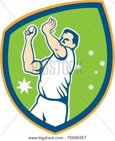 Australian Cricket Fast Bowler Bowling Ball Shield Cartoon