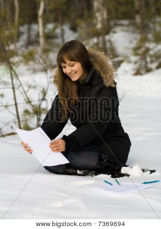 Writing Woman In Winter Forest