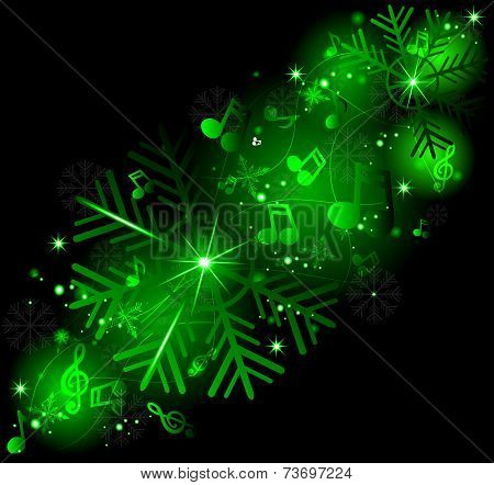 Glowing Music Notes With Winter Snowflakes. Winter Melody.