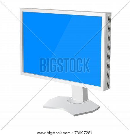 lcd tv  monitor on white background. Vector illustration