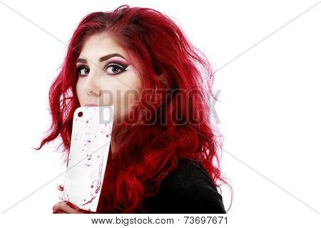 redhead woman with a bloody hatchet in hand