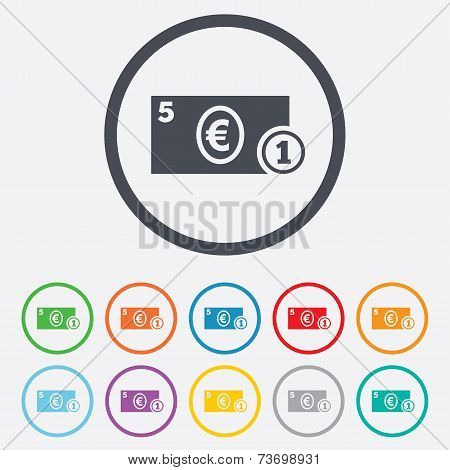 Cash sign icon. Euro Money symbol. Coin.