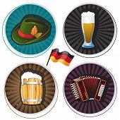 stock photo of accordion  - Glass of beer accordion hat and barrel on round striped backgrounds - JPG