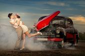 picture of car symbol  - Young couple  next retro car  in smoke - JPG
