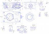 stock photo of mechanical drawing  - EngineerEngineering drawing of industrial equipment - JPG