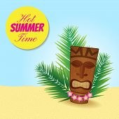 stock photo of tiki  - nice banner with tiki image and text place - JPG