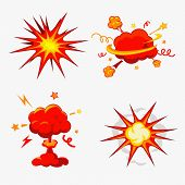 Постер, плакат: Comic Book Explosion Bombs And Blast Set