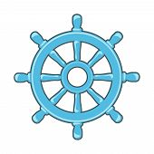 stock photo of rudder  - Rudder icon or Ship Wheel isolated on white - JPG