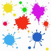 stock photo of color spot black white  - set of colored blots on the white background - JPG