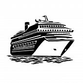 picture of passenger ship  - stylized illustration of a large cruise ship on the ocean waves - JPG