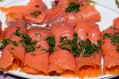 stock photo of blubber  - Close up of smoked salmon with dill  - JPG