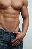 stock photo of hunk  - Muscular male model - JPG