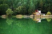 picture of chalet  - Chalet on the shore of a lake - JPG