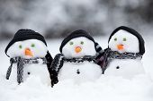 stock photo of snowman  - Three little snowmen wih hats and scarfs sat in the snow - JPG
